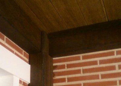 Porche chalet vista lateral, madera