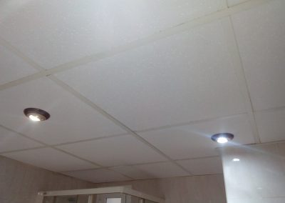 reforma de baño, falso techo con placas y halógenos